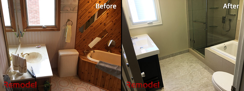 complete bathroom renovation before and after photo