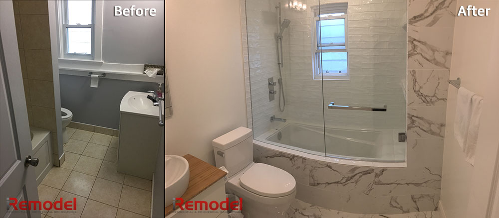 luxury bathroom remodel before and after photo
