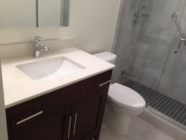 Single Vanity Bathroom with White Quartz Countertop