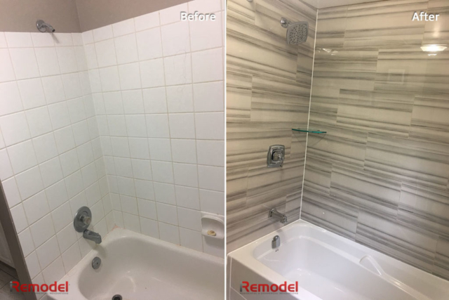 Bath Tub Remodel Before After Photo
