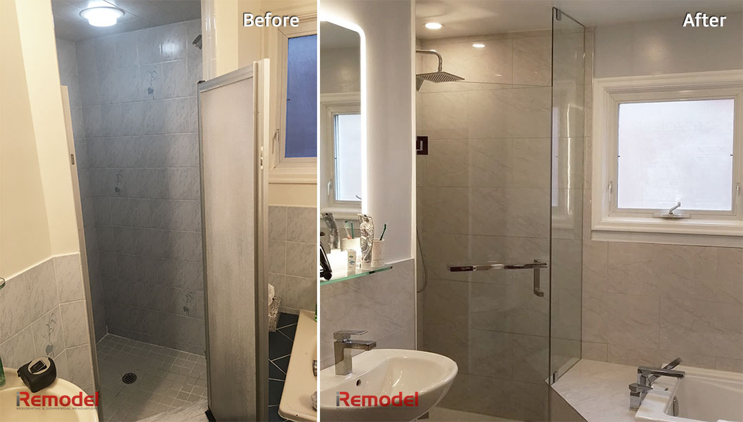 bathroom renovation in Toronto before and after photo