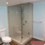 corner glass shower bathroom renovated