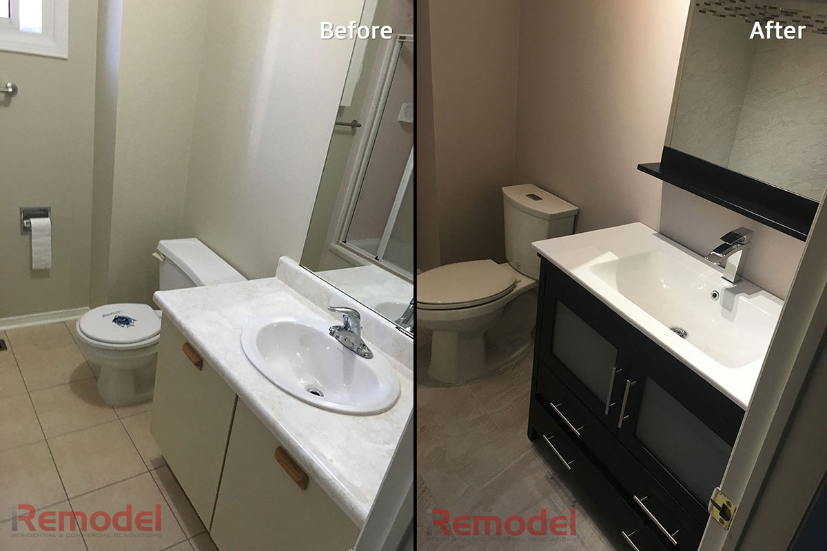 custom bathroom renovation with single vanity - before after photo