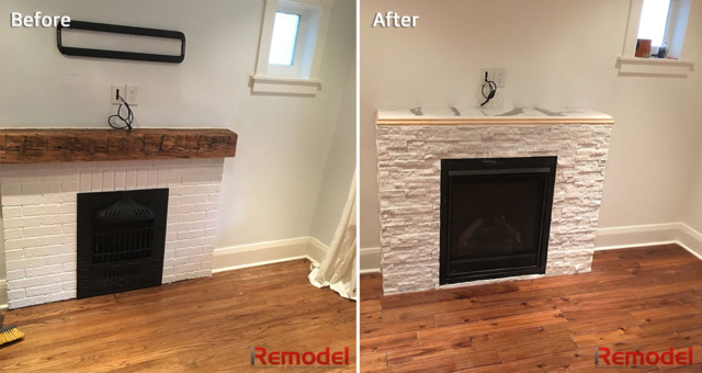 fireplace remodel before and after photo