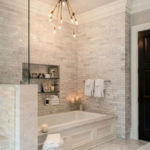 luxury bathroom with white stone wall downtown toronto