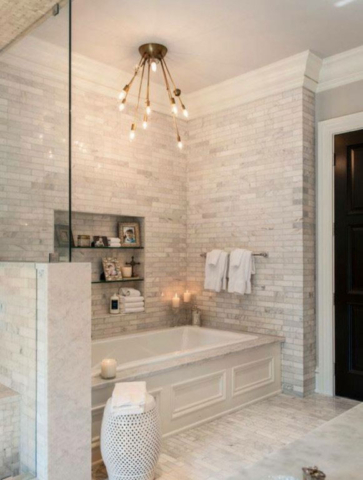 Luxury bathroom with white stone wall in Downtown Toronto