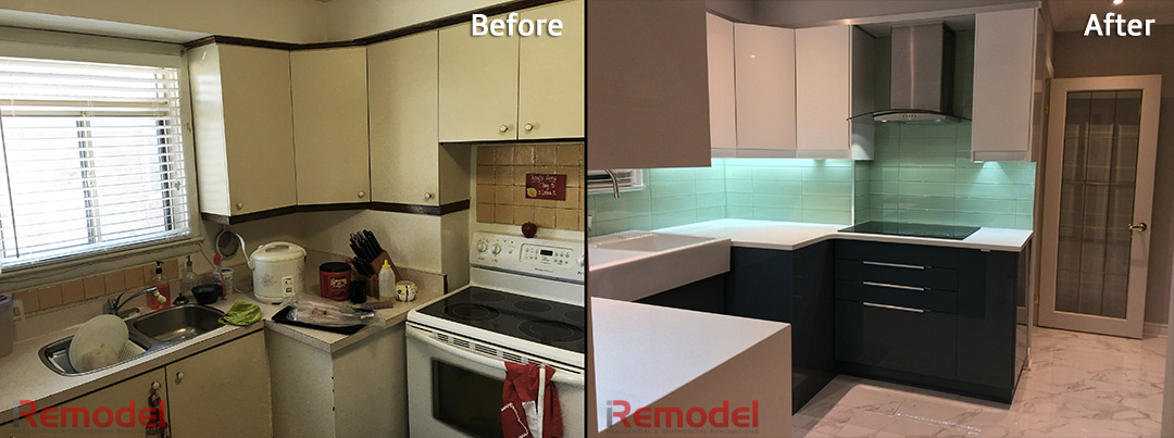 modern kitchen renovation quartz countertop before and after