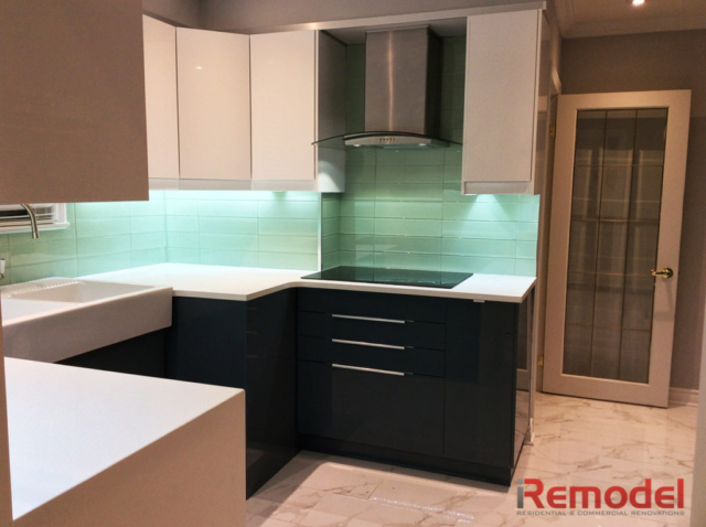 modern kitchen renovation with quartz countertop photo 2