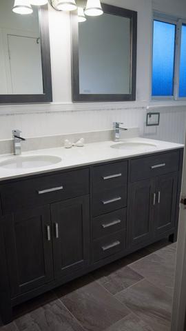 quartz custom double sink vanity