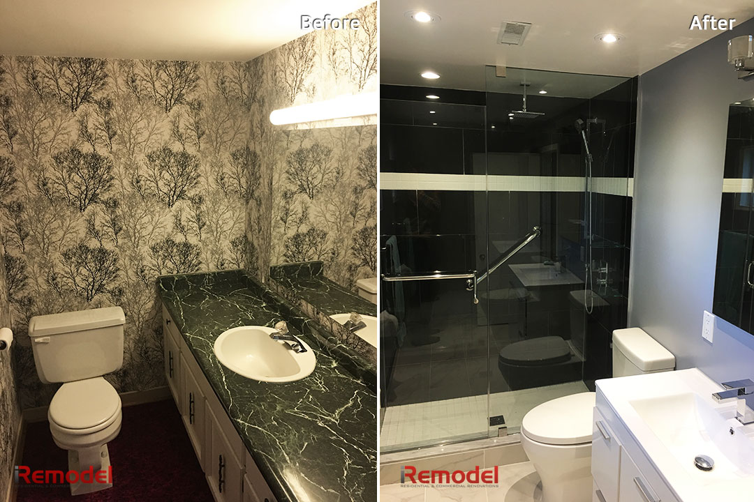 small bathroom remodel stand shower before and after photo
