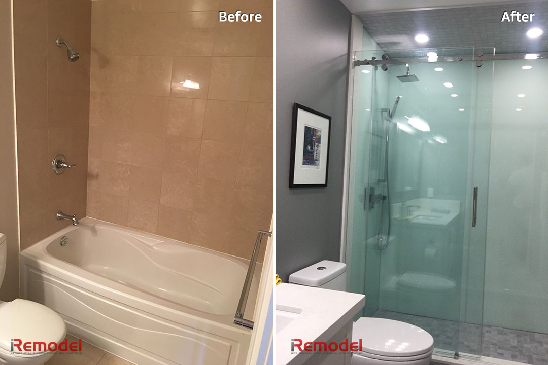 stand shower bathroom renovation before and after photo