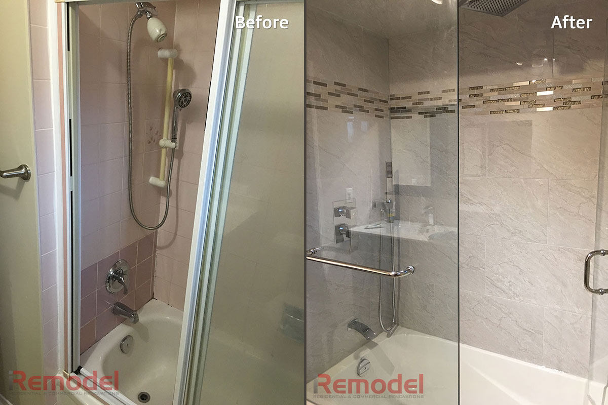 tempered glass bathroom doors with rain shower - before and after photo
