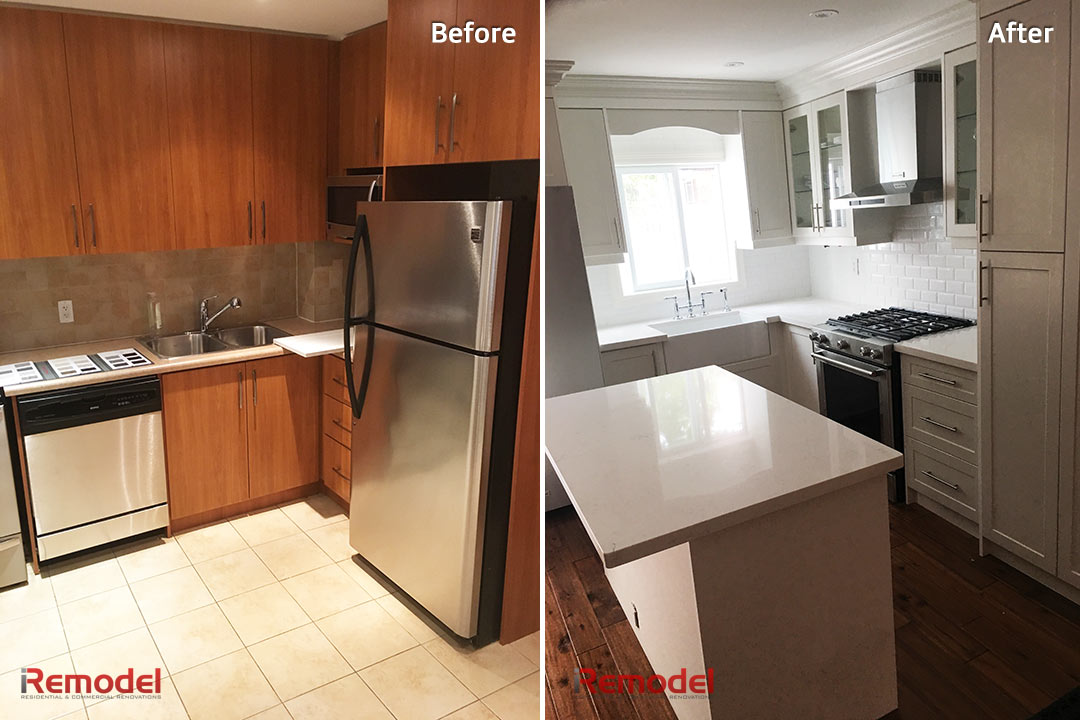 white kitchen remodel before and after photo